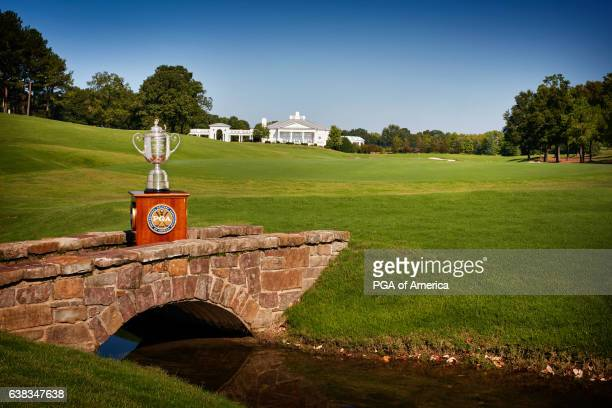 A view from the Wanamaker Trophy from the 18th hole at Quail Hollow Club on September 30 2016 in Charlotte North Carolina