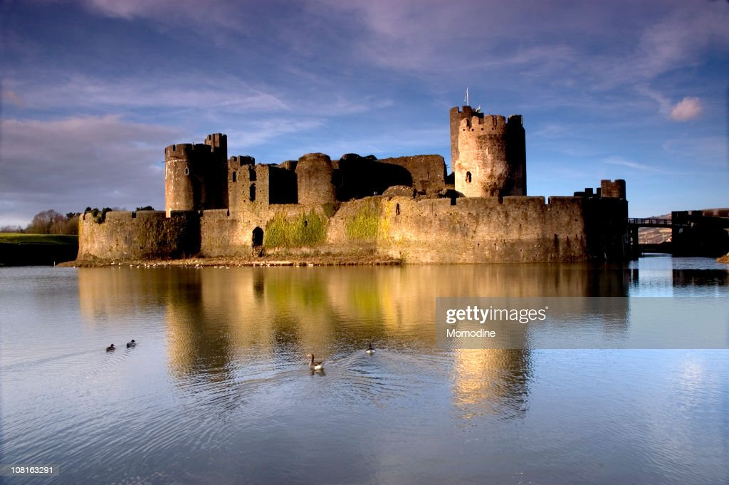 View from the water of Caerphilly Castle : Stock Photo