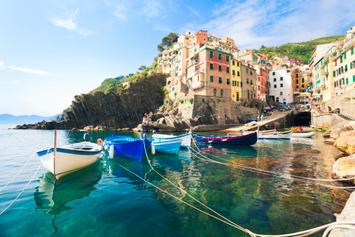 A view from the water of Riomaggiore, Cinque Terre 171359211