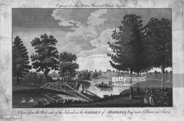 A View from the West side of the Island in the Garden of Hopkins Esqr near Cobham in Surry' circa 1760 Ladies and gentlemen can be seen crossing a...