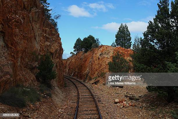 A view from the window as passengers of The Ghan take a day trip on the Pichi Richi steam train through the Flinders Ranges on April 26 2014 in Port...