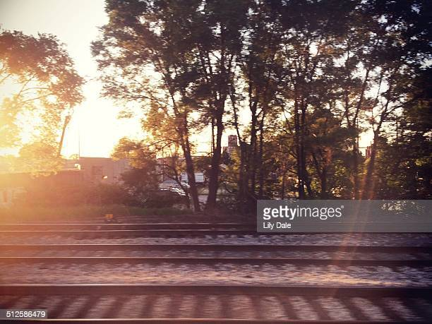 View from the window of the Amtrak from Chicago to Bloomington Illinois