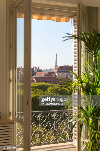 view from the window of the eiffel tower in paris. - paris france stock pictures, royalty-free photos & images