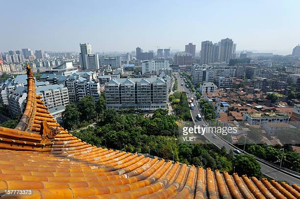 view from the yellow crane tower in wuhan, china - wuhan stock photos and pictures
