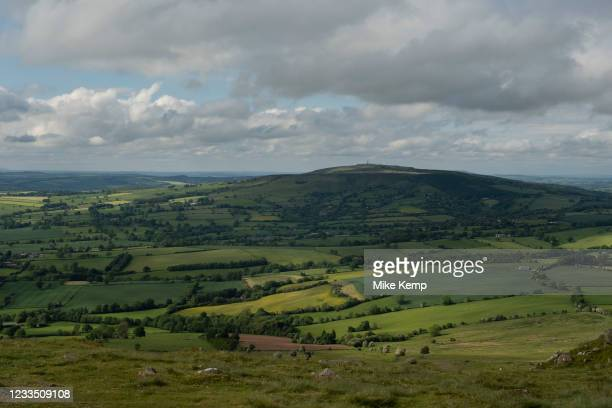 View from Titterstone Clee Hill looking towards Brown Clee Hill on 10th May 2021 in Titterstone Clee Hill, near Ludlow, Shropshire, United Kingdom....
