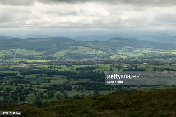 View from Titterstone Clee Hill towards the town of Ludlow on 10th May 2021 in Titterstone Clee Hill, near Ludlow, Shropshire, United Kingdom....