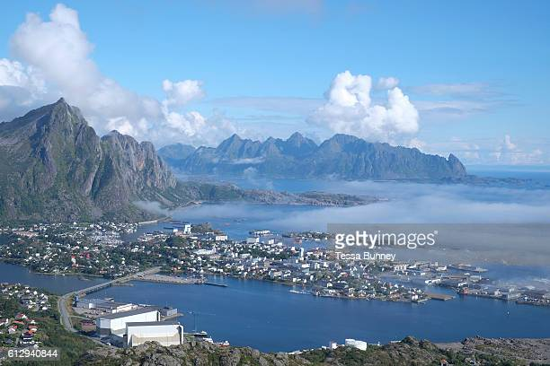 View from Tjeldbergtind of the town Svolvaer on 21st August 2016 Lofoten Islands Norway The Lofoten islands are famous for their jagged mountains...