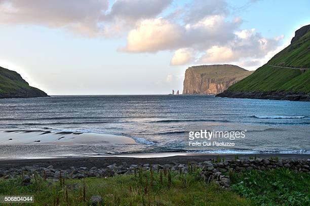 View from Tjörnuvik on Risin and Kellingin sea stacks Eysturoy of Faroe Islands