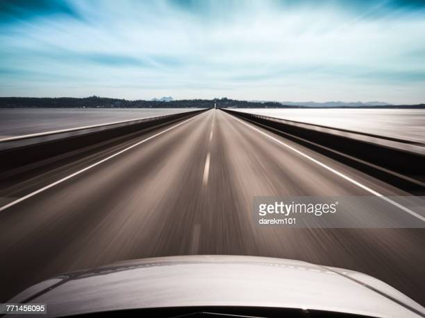 View from top of a car speeding along a bridge, Megler, Washington, America, USA