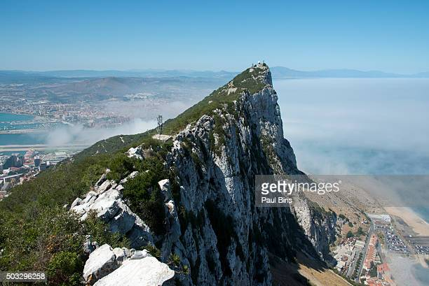 view from top of rock of gibraltar - rock of gibraltar stock photos and pictures