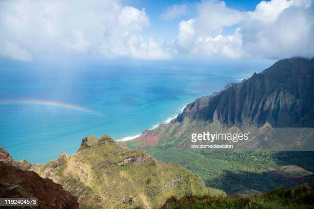view from top of valley, kauai, hawaii - water fall hawaii stock pictures, royalty-free photos & images