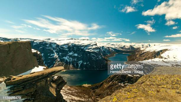a view from trolltunga - hordaland county stock pictures, royalty-free photos & images