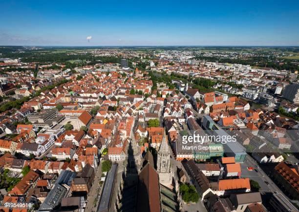view from ulm minster of the eastern city center and neu-ulm, ulm, upper swabia, swabia, baden-wuerttemberg, germany - neu fotografías e imágenes de stock