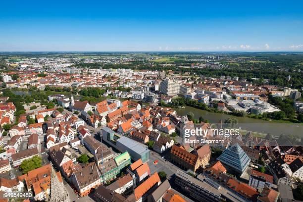 view from ulm minster to the southern city with river danube and neu-ulm, ulm, upper swabia, swabia, baden-wuerttemberg, germany - neu fotografías e imágenes de stock