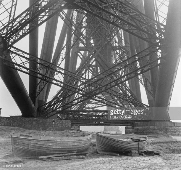 A view from under the Forth Bridge at North Queensferry Scotland circa 1935