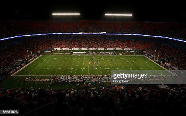A view from up high in the stadium as the Virginia Tech Hokies takes on the Miami Hurricanes at Dolphin Stadium on November 13 2008 in Miami Florida...