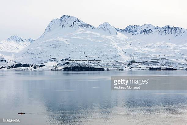 view from valdez over the prince william sound - chugach mountains stock pictures, royalty-free photos & images