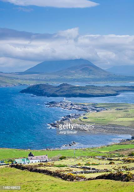view from valentia island to iveragh peninsula - ring of kerry stock photos and pictures