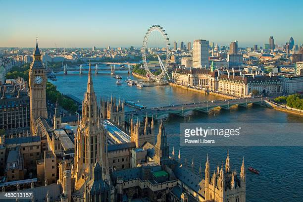 View From Victoria Tower on Houses of Parliament and London skyline at sunset