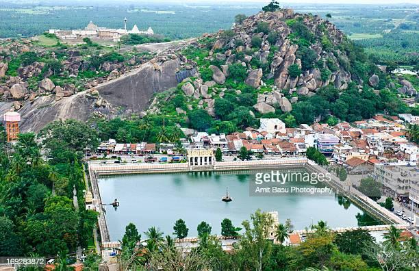 view from vindyagiri. shravanabelagola, india. - sravanabelagola stock photos and pictures