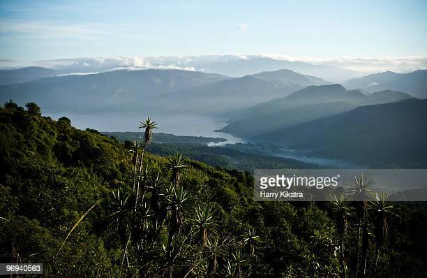 View from Volcan Atitlan to Lake Atitlan