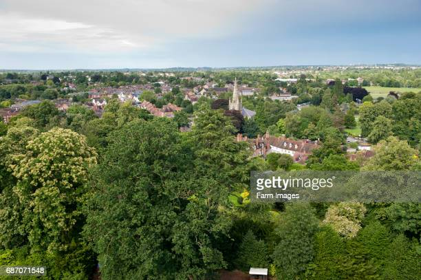 View from Warwick castle, looking over the town of Warwick. England.