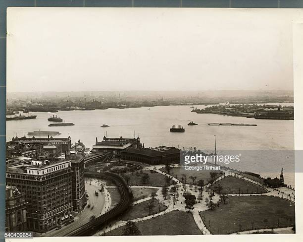 View From Whitehall Building Showing Battery Park at Governors Island and Brooklyn