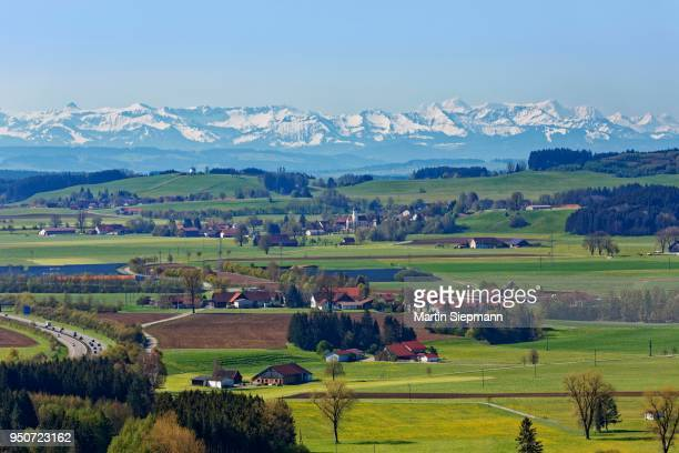 View from Zeil Castle, villages of Haid and Heggelbach, Allgaeu Alps behind, Leutkirch im Allgaeu, Upper Swabia, Swabia, Baden-Wuerttemberg, Germany