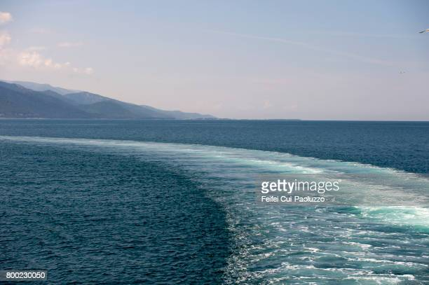 View fron a tourboat on the Keramoti, Kavala regional unit, East Macedonia and Thrace, Northern Greece
