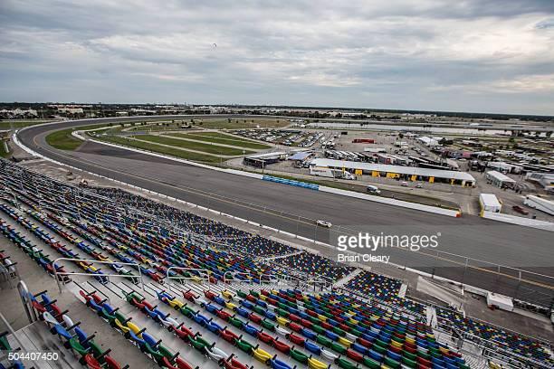 View fron the top of the newly renovated stadium granstands during IMSA testing at Daytona International Speedway on January 10 2016 in Daytona Beach...