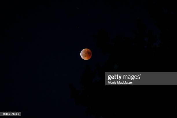 A view full moon during a 'blood moon' eclipse over the northern German city of Hamburg on July 27 2018 During this eclipse when Earth's shadow is...