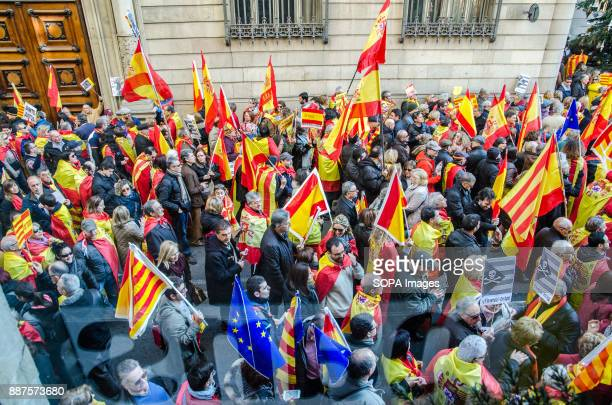 View general superior of a group of Spanish loyalist demonstrators with Spanish flagsSpain celebrates today the 39 anniversary of its Constitution...