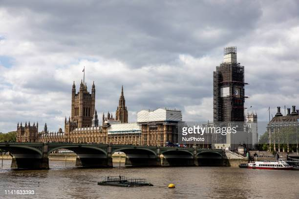 A view Houses of Parliament and Elizabeth Tower in London United Kingdom on May 5 2019