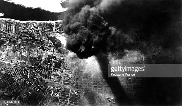 A view in 1942 of smoke clouds in Stalingrad from a fire set off by German bombing The raging fire destroyed a tank unit on the shore of the Volga...