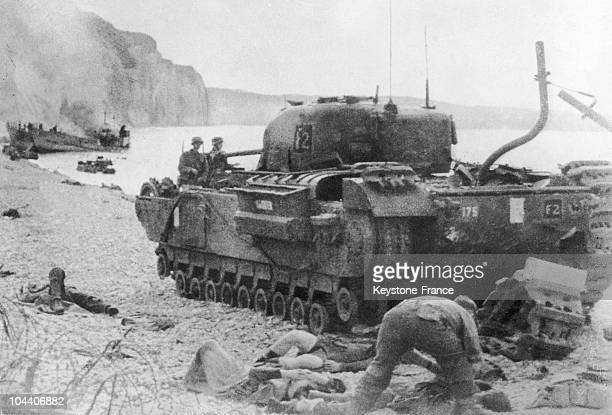 View in August 1942 on a beach near Dieppe of a British tank captured by the German troops after the failure of the Canadian landing That day 5000...