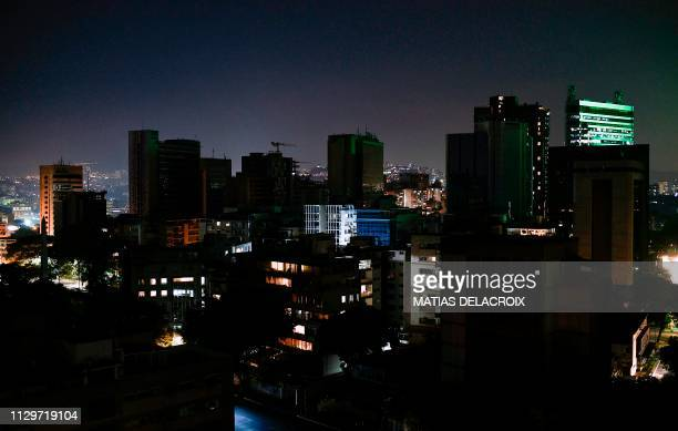 View in Caracas on March 10 during the third day of a massive power outage which has left the capital and much of the country without communications...