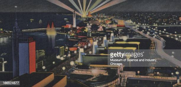 A view in color shows the illuminated night view of the Chicago World's Fair at the Century of Progress International Exposition in Chicago Illinois...