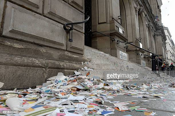 View in front of the City Hall with papers on the floor as garbage collectors occupy the City Hall of the 10th district of Paris and throwing papers...