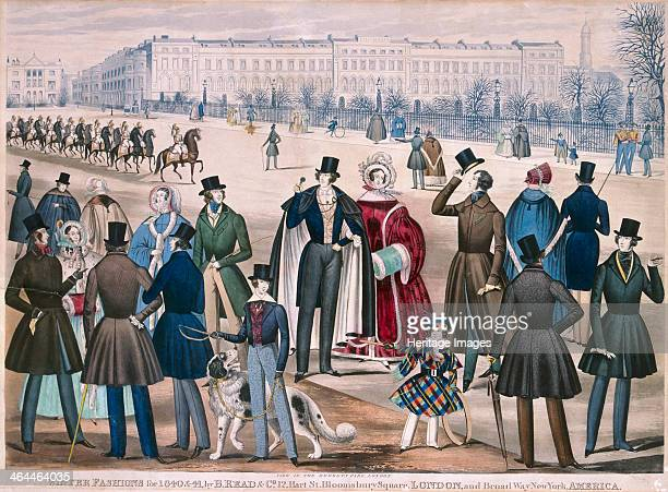 View in Regent's Park London showing figures wearing winter fashions for 1840 and 1841 A troop of soldiers possibly Household Cavalry parade down the...
