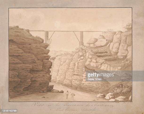View in the Barranco de Martianez, Port Orotava, Tenerife, looking Southward, Alfred Diston, active 1818–1829 Brown wash and pen and brown ink on...