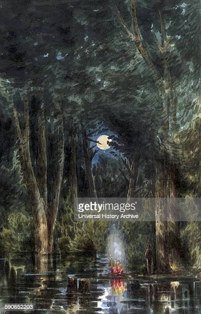 View in the Chickahominy Swamp Night scene of the Chickahominy River with a soldier standing by a fire in the foreground and a full moon reflected in...