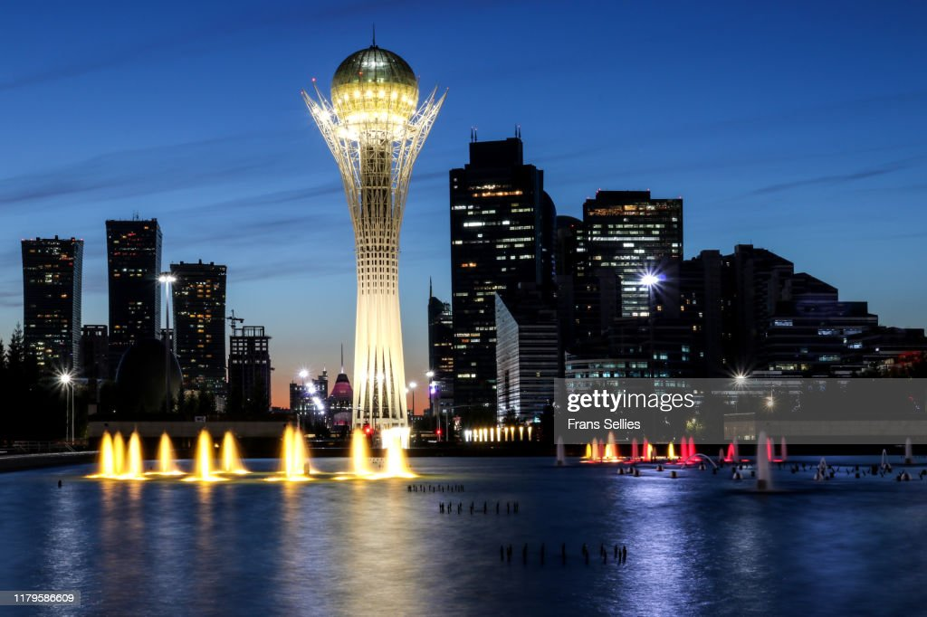 View in the evening on the modern centre of Nur Sultan (Astana), Kazakhstan : Stockfoto