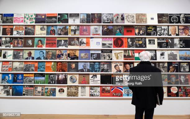 A view in the exhibition with art work 'The Record Archive' by Dani Gal seen during the 'Power to the People Politische Kunst Jetzt' exhibition...