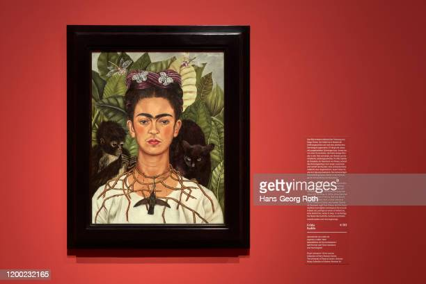View in the exhibition with artwork of Frida Kahlo, Self-Portrait with Thorn Necklace and Hummingbird, seen at the press preview of the exhibition...