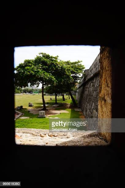 View in the Fortified wall from within the wall, Cartagena, Colombia