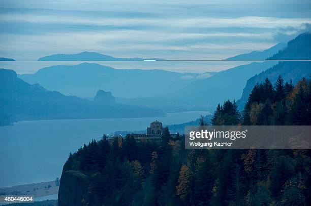 View in the morning of the Columbia River gorge with the Vista House in the fall from the Women's Forum State Park near Portland in Oregon USA