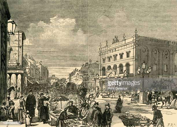 View in the New Cut', 1878. Street scene in the New Cut, Lambeth, south London, with the Royal Victoria Palace Palace, , on the right. From Old and...
