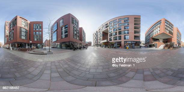 360° view in the overseas boulevard. überseequatrtier, hamburg - einkaufen stock pictures, royalty-free photos & images