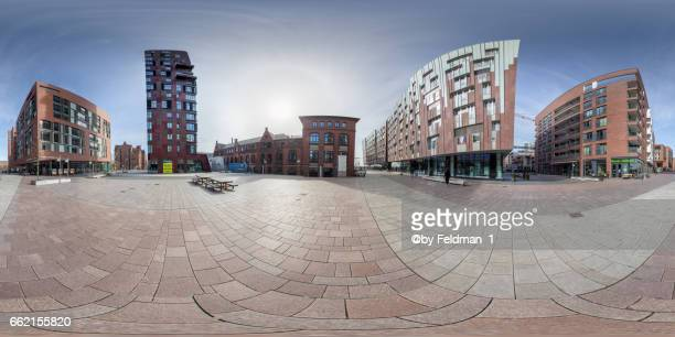 360° view in the view at the market square. überseequartier, hamburg - einkaufen stock pictures, royalty-free photos & images