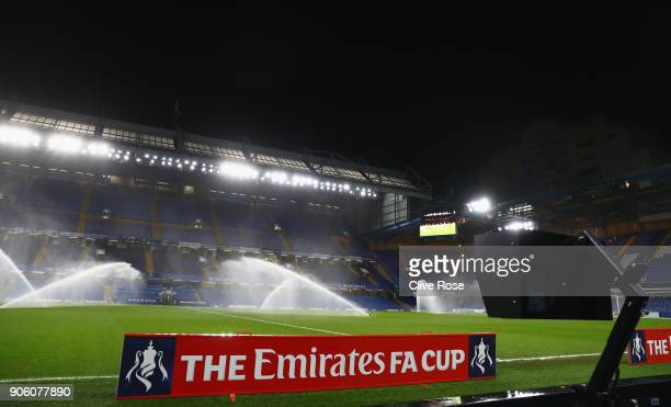 A view indside the stadium showing the VAR prior to The Emirates FA Cup Third Round Replay between Chelsea and Norwich City at Stamford Bridge on...